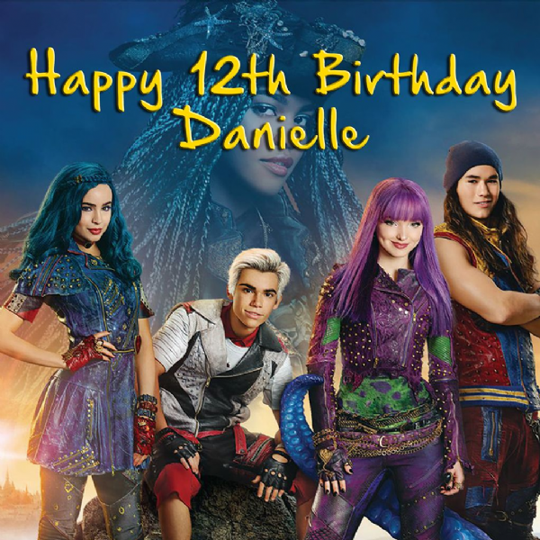 DESCENDANTS 2 PERSONALISED EDIBLE SQUARE BIRTHDAY CAKE TOPPER